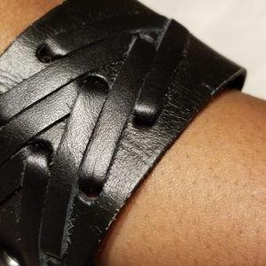 paparazzi Jewelry - Leather Black Wrap Tye Bracelet
